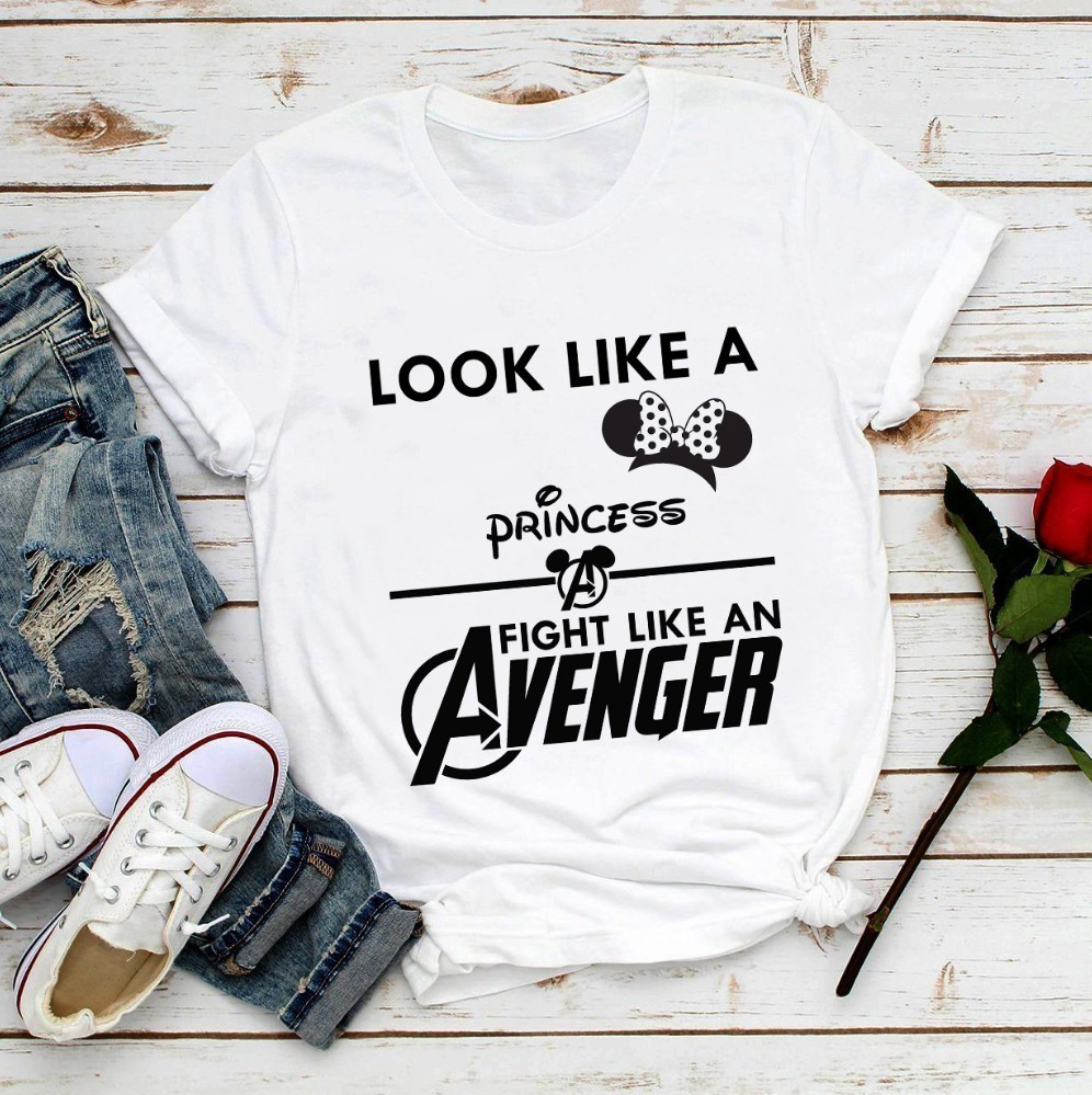 Look Like A Princess Fight Like A Avenger Funny T Shirt Women Summer New White Casual Femme Mouse Ears Girl Power Anime T-shirt