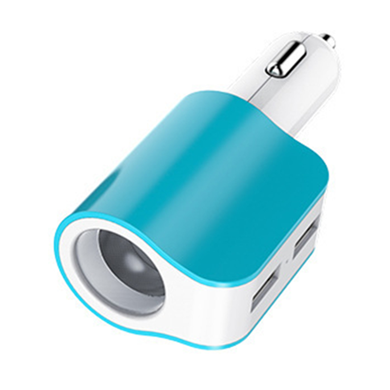 blue Multifunctional cigarette lighter dual USB one with two car charger Mobile charger intelligent three one car charger