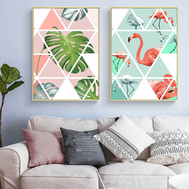 Hawaiian Style Geometric Monstera Canvas Painting Picture Jigsaw Puzzle Leaf Poster Print Living Room Home Decor