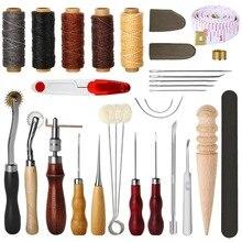 31 pçs ferramentas de costura de couro diy artesanato ferramentas mão costura conjunto com groover awl encerado thread dedal kit