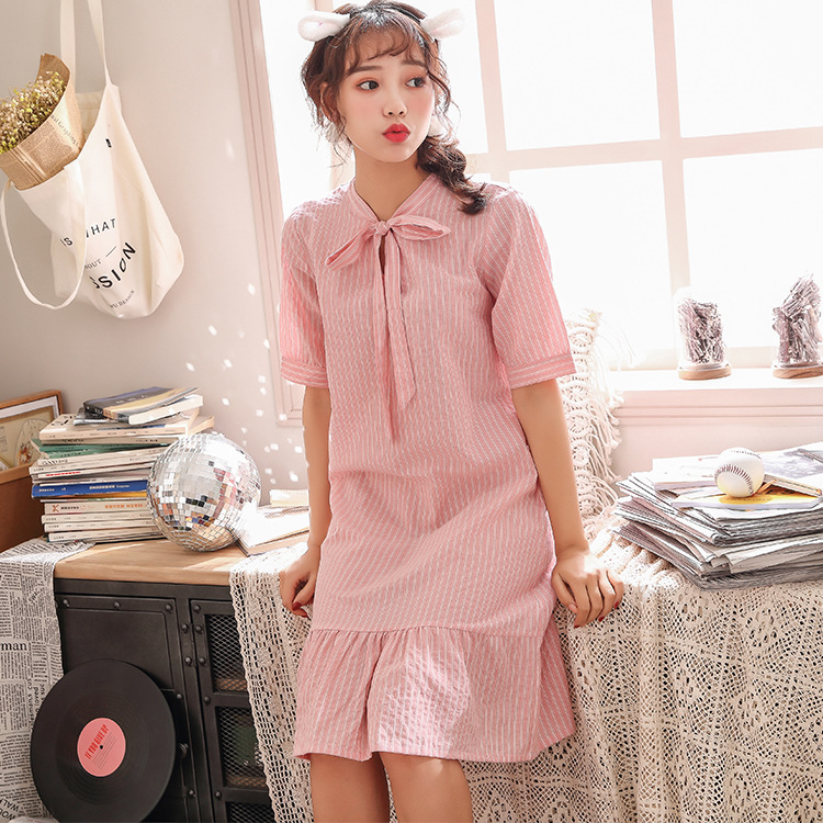 2019 Summer Women Cotton   Nightgowns   Sleepwear   Sleepshirts   Sleep Lounge Nightdress Cute Bowknot Short Sleeve Nightwear