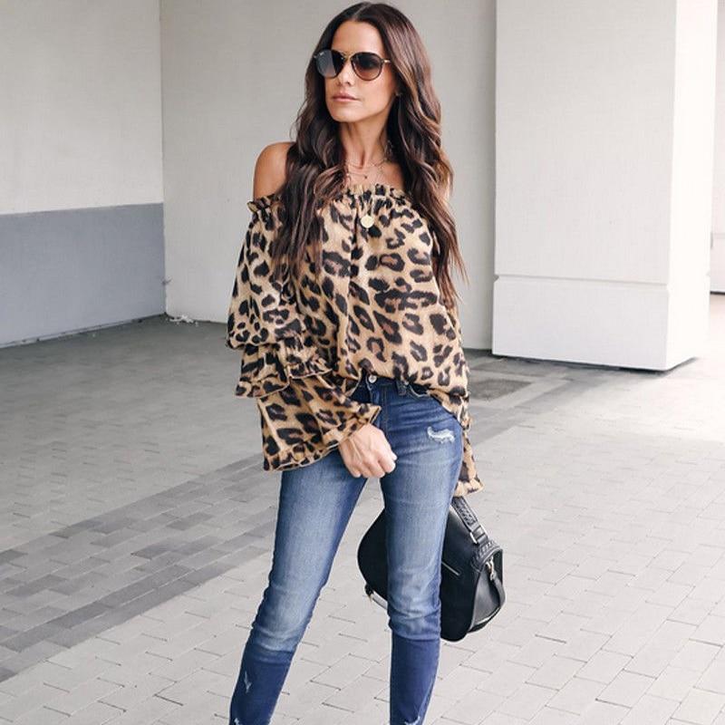 2019 Fashion Womens Dresses Ladies Leopard Elegant Tops Bodycon Low Cut Off Shoulder Long Sleeve Blouse Sexy Hot Autumn Shirt