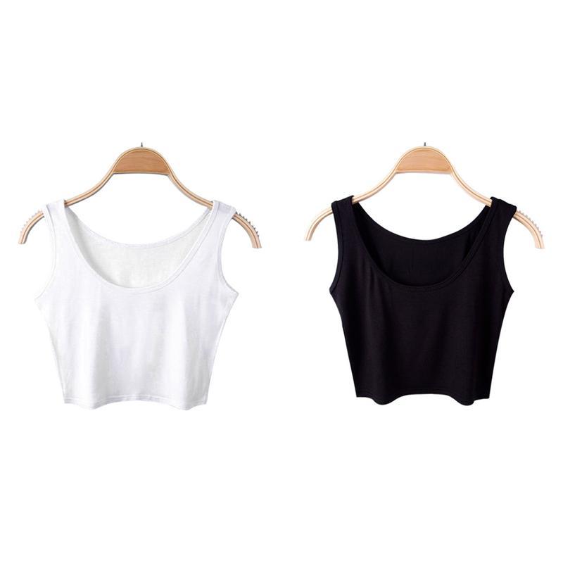 MISS M Women Summer Top Slim Sleeveness Crop Top Soft Breathable Casual Short Vest Top Solid Color Vest mujer Femme