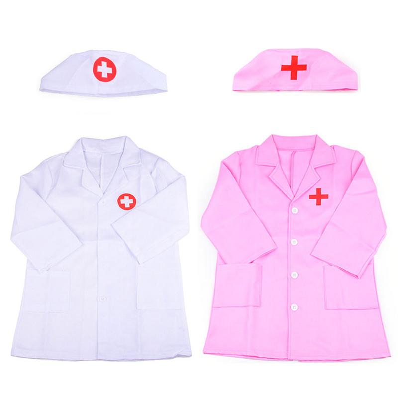 Kids Doctor Cosplay Costumes Halloween Children's Nurse Uniform Clothing Role Play Costume Hospital Doctor's Overall White Gown image