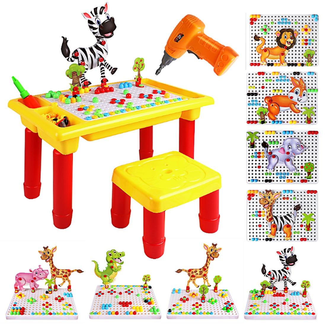 Enfants Science électrique perceuse tournevis outil de démontage Table en bois assemblage Playset-Type Animal apprentissage et éducation