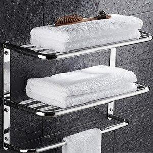 Sus 304 полка для ванной из нержавеющей стали, 3 слоя квадратной формы для косметики и шейпа, вешалка для полотенец для ванной комнаты, многоцел...
