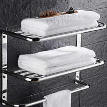 Sus 304 Stainless Steel Bathroom Shelf 3 Layers Square For Cosmetic And Shapoo Bathroom Towel Rack Hanger Multi Use Bathroom Set - DISCOUNT ITEM  10% OFF Home Improvement