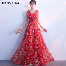 BANVASAC Elegant V Neck Sequined Embroidery A Line Long Evening Dresses Party Sleeveless Sash Tulle Backless Prom Gowns