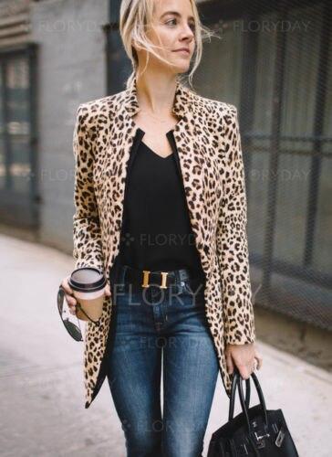 Fashion Women Leopard Print Fashion Jackets Sexy Winter Warm Wind Coat Cardigan Fashion Long Sleeve Coat jeans con blazer mujer
