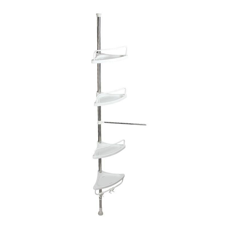 Support de rangement d'angle à 4 niveaux en acier inoxydable Caddy de douche sans perçage organisateur d'étagère de poteau extensible pour toilettes de salle de bains