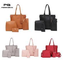 4pcs/Set Lichi Leather Tassels Shoulder Bag Women Big Capacity Tote Portable Handbag Mini Clutch Card Bags Travel Messenger Bag