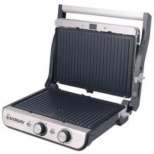 Гриль-пресс Endever Grillmaster 250 (Мощность 2300 Вт, терморегулятор (100-250 °C), таймер, внутреннее антипригарное покрытие, световой индикатор нагрева и готовности к работе, размеры рабочей поверхности 34х24 см)