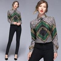 Леопард paldi зеленый качество Весна Подиум женщина 2019 длинный рукав блузка рубашка Подиум дизайнер OL элегантный
