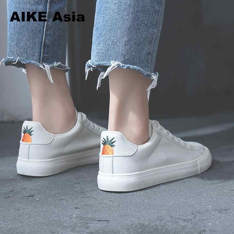 Aike Azië Vrouwen Sneakers 2019 Fashion Breathble Gevulkaniseerd Schoenen Pu leer Platform Lace up Casual Wit sneaker Tenis Feminino