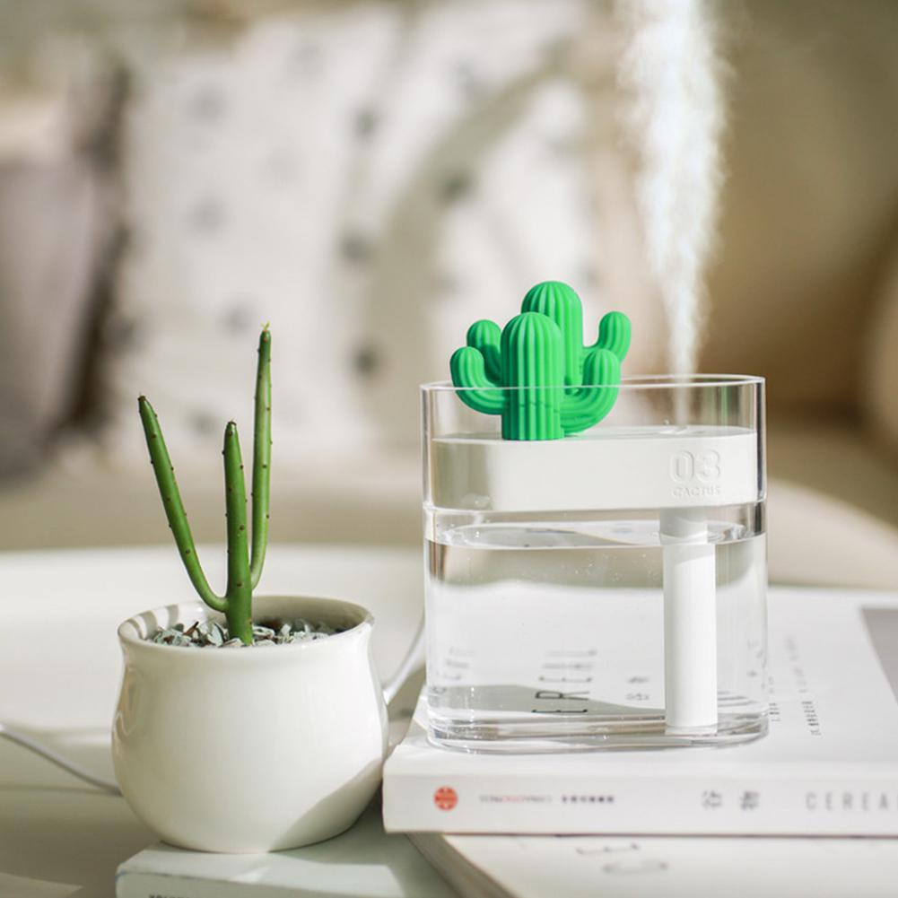 USB Air Humidifier Cactus Color LED Light Essential Oil Diffuser Car Purifier Aroma Diffusor Anion Mist Maker