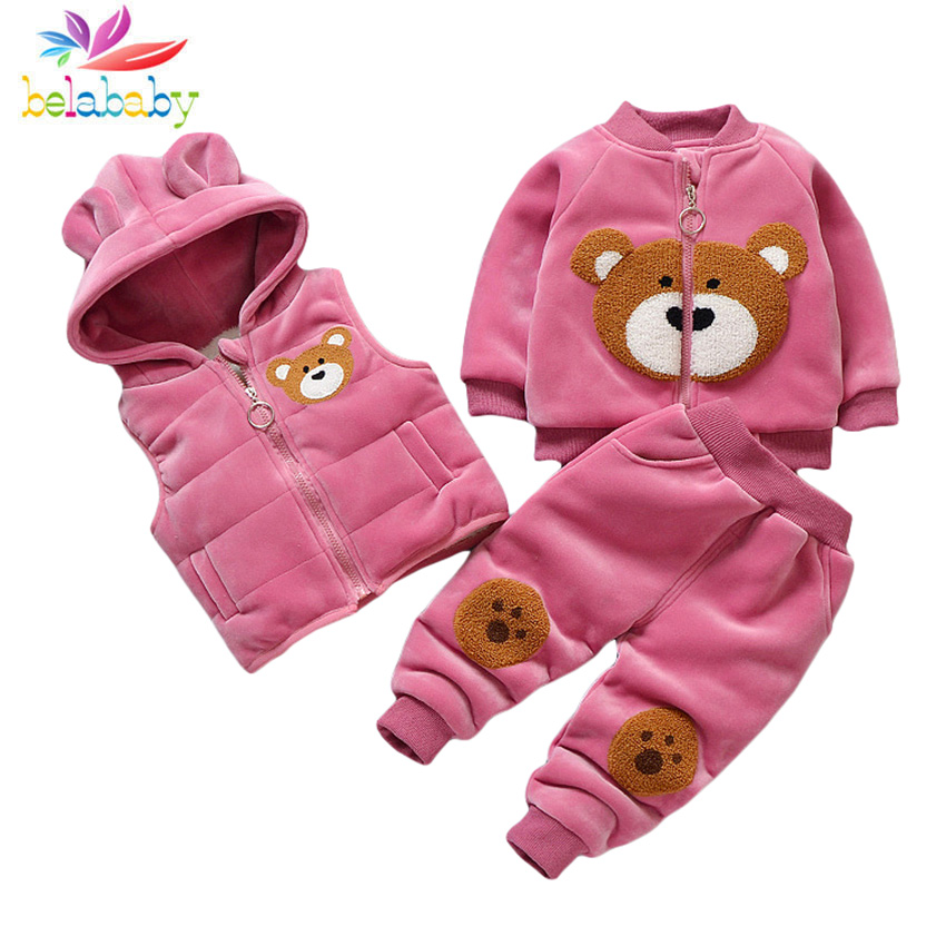 Boys Girls Winter Warm Clothing Vest+Sweater Hoodies+Pants 3PCS Kids Velvet Clothes Children Cartoon Clothes Sets Thicken Suit
