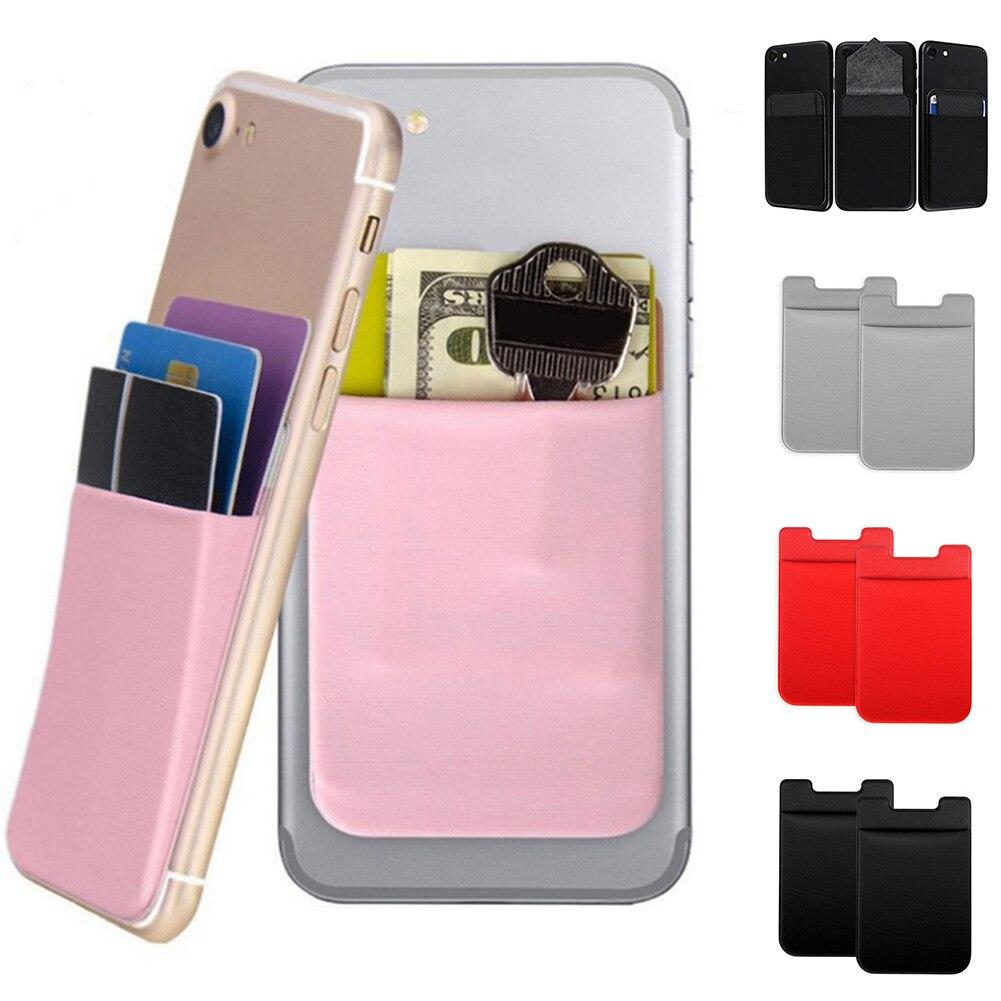 1 Stück Elastische Handy Tasche Candy Farbe Handy Brieftasche Kredit Id Karte Halter Karte Tasche Klebstoff Aufkleber