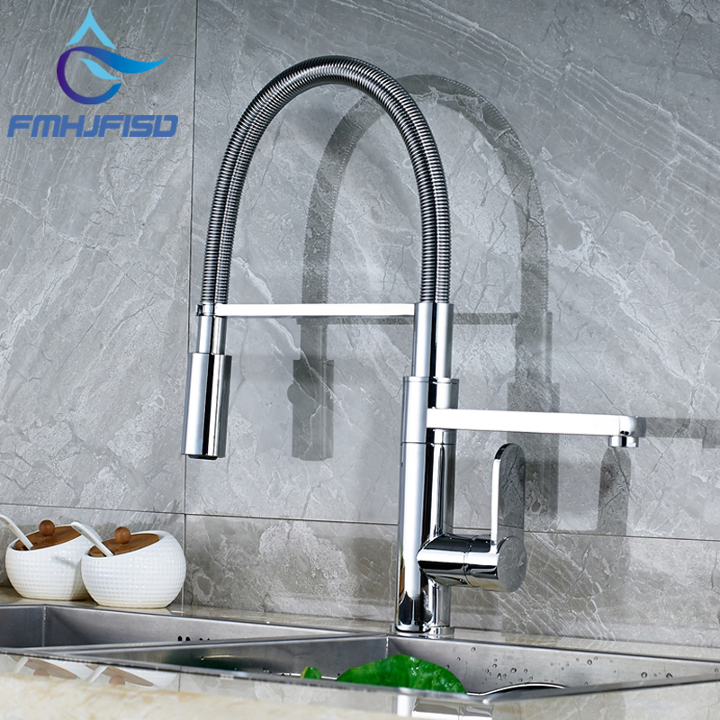 Deck Mounted Chrome Finish Brass Kitchen Faucet Spring Vessel Sink Mixer Tap Dual Swivel Spout Faucet