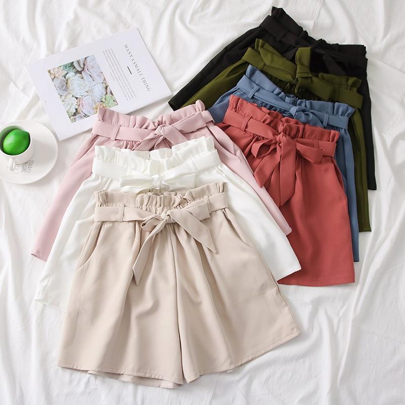 2019 Solid Color Korean Fashion Shorts Bow Belt Wide Leg Loose Shorts Korte Broek Dames