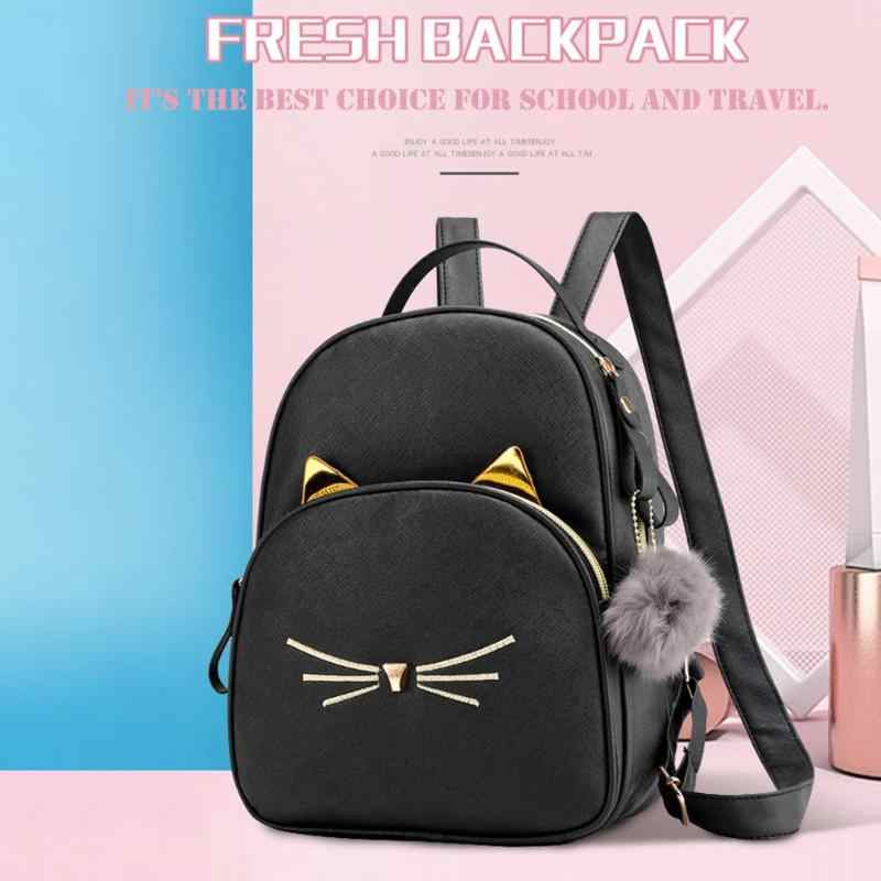 Teenagers Backpack PU Leather School Bags Girl Cartoon Cat Square Satchel Light Small Shoulder Bag