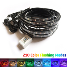 Car Colorful Chassis Atmosphere Lamp 5050 SMD 210 Model Flexible LED Strip Neon Light Kit W/ Phone APP Control DC 12V