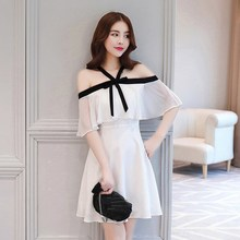 Summer Women Off Shoulder Halter Chiffon Dress Sexy Slash Neck Ruffles Dresses White Elegant Party