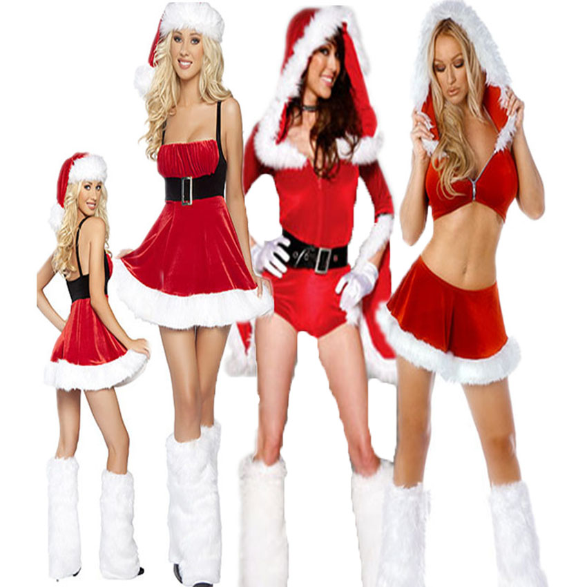 Christmas Cosplay Costume Female New Hooded Dress Halloween Festive Clothes Red Sexy Set Bar Stage Uniform Women Party Outfit