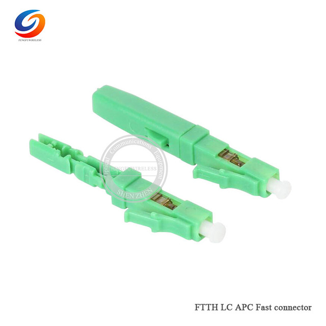 10pcs Free shipping FTTH LC APC Single mode fiber optic 0.9mm fast assembly LC APC connector adapter