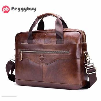 bc43df5401c6 BULLCAPTAIN плеча сумки коричневый для мужчин кожа деловая сумка с  отделением для ноутбука путешествия через плечо