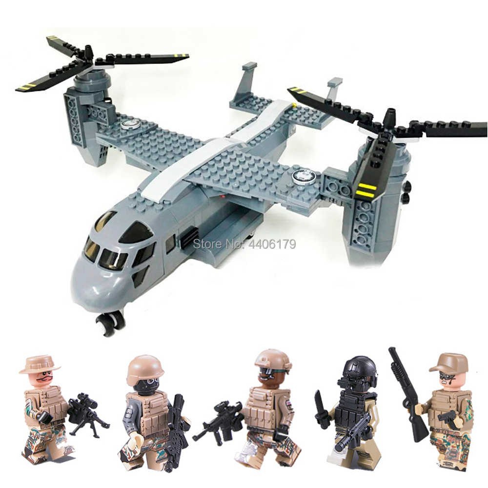 hot LegoINGlys military WW2 US V-22 Osprey transport aircraft Building Blocks mini Special forces army figures bricks toys gift