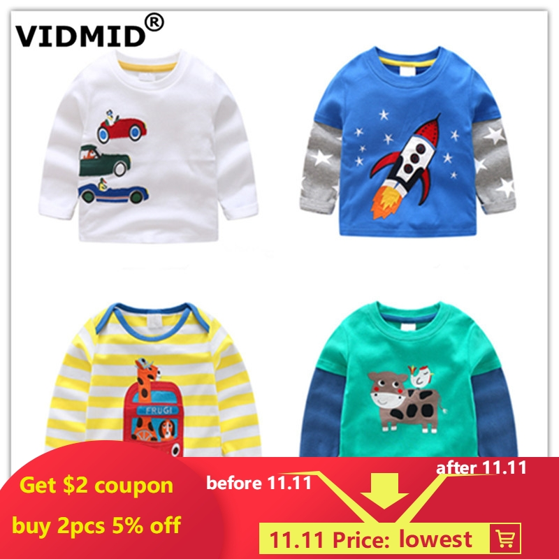 VIDMID boys t-shirt long sleeves children's t-shirts autumn cartoon kids shirts for boys clothing cotton baby clothes t-shirt purple lace up cold shoulder long sleeves t shirt