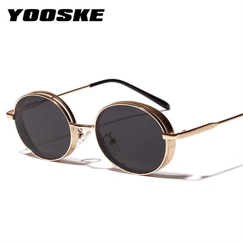 1cb38445563b5 YOOSKE Round Sunglasses Men Metal Frame Small Sun Glasses for Women Fashion  Ladies Red Glasses Designer