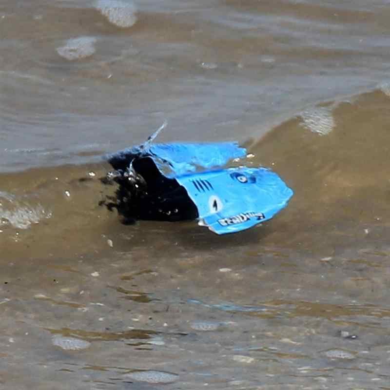 Mini Radio eléctrica submarino Control remoto Barco de carreras submarino juguete fresco acuático (azul y verde)