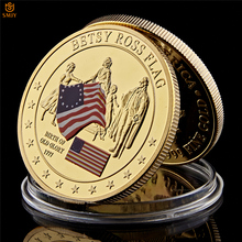 1777 American Betsy Ross Flag Birth Value Gold Plated Metal USA Coin Collection полусапоги betsy betsy be006awfpnw3