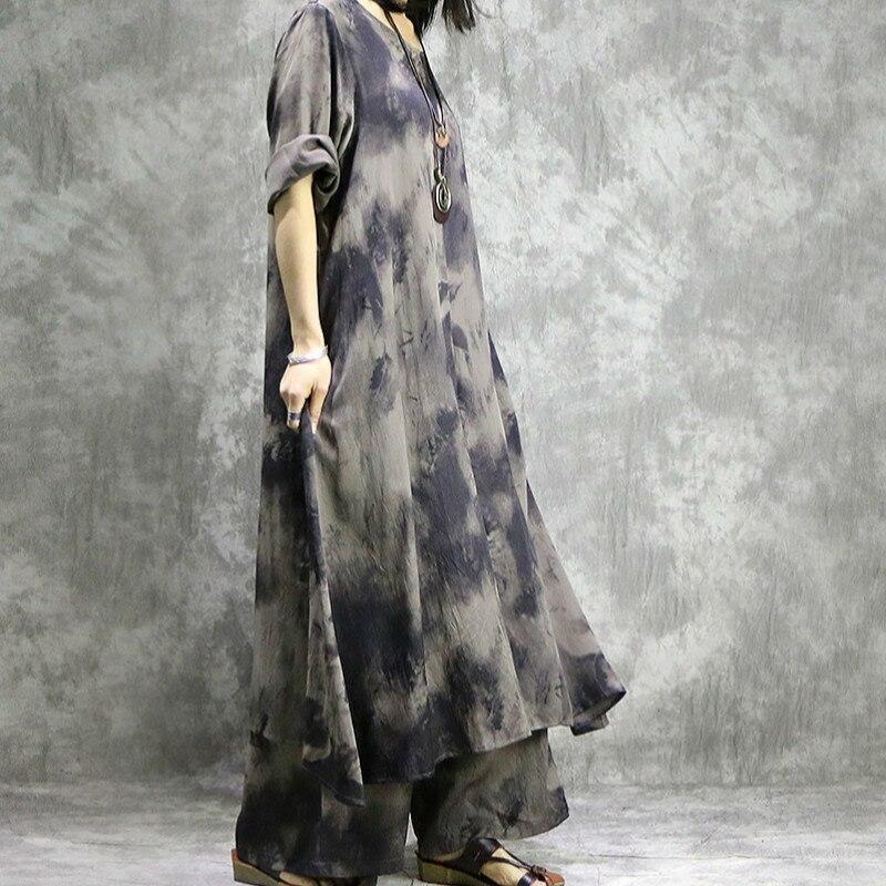 Manches Col Deux Avec Femmes Twinset Imprimé Costume Large Pantalon Jambe Ensembles 2019 Pièces Poche Longues Rond Robe Buykud Printemps Gray À Irrégulier rthQds