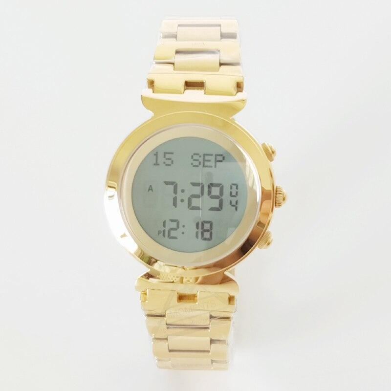 Reloj Alfajr para mujeres musulmanas 6331 27mm para señora oro Acero inoxidable 3 Bar impermeable Harameen reloj con Qibala-in Relojes de mujer from Relojes de pulsera    2