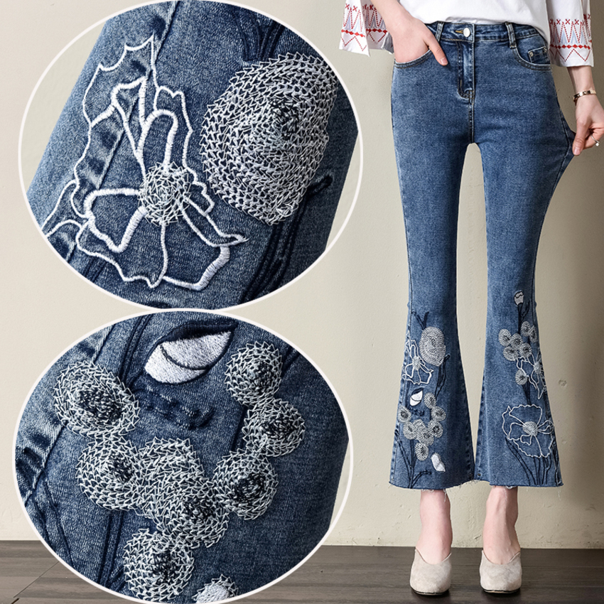 New Fashion Clothes Women Denim Pants Ankle-Length Flare Jeans Pants Vintage Flowers Embroidery High Waist Ladies Trousers