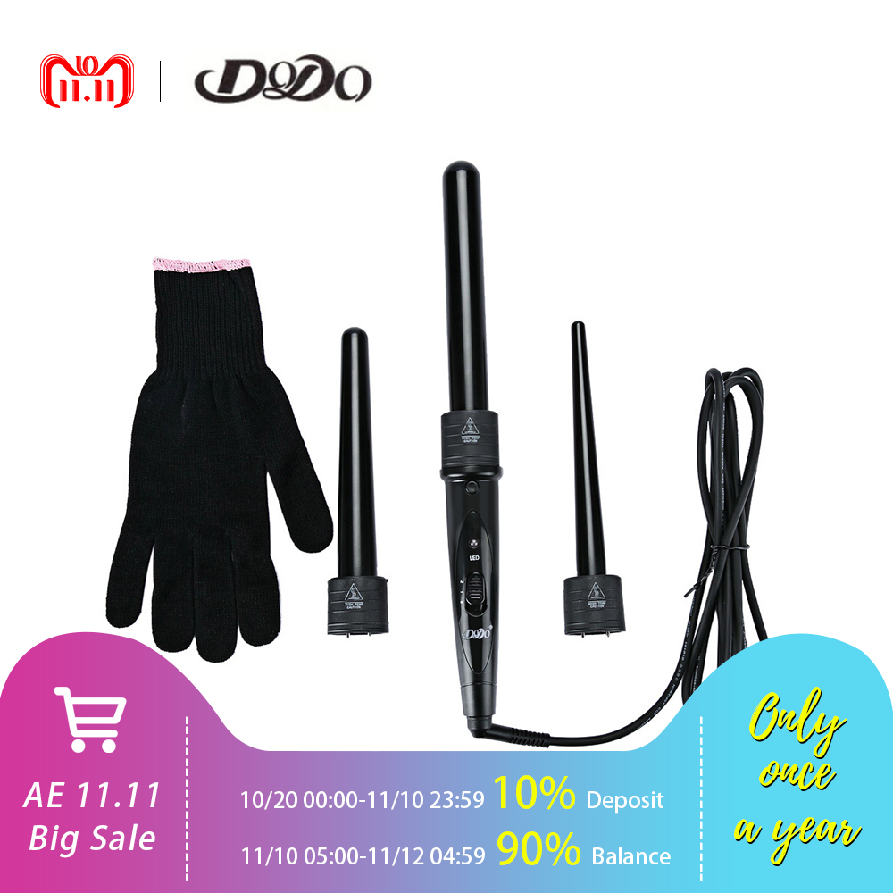 DODO 3 In 1 Hair Curlers Care Styling Curling Wand Interchangeable 3 Parts Clip Hair Iron Curler Set Curler Hair Styles Tool new hair curler steam spray automatic hair curlers digital hair curling iron professional curlers hair styling tools 110 240v