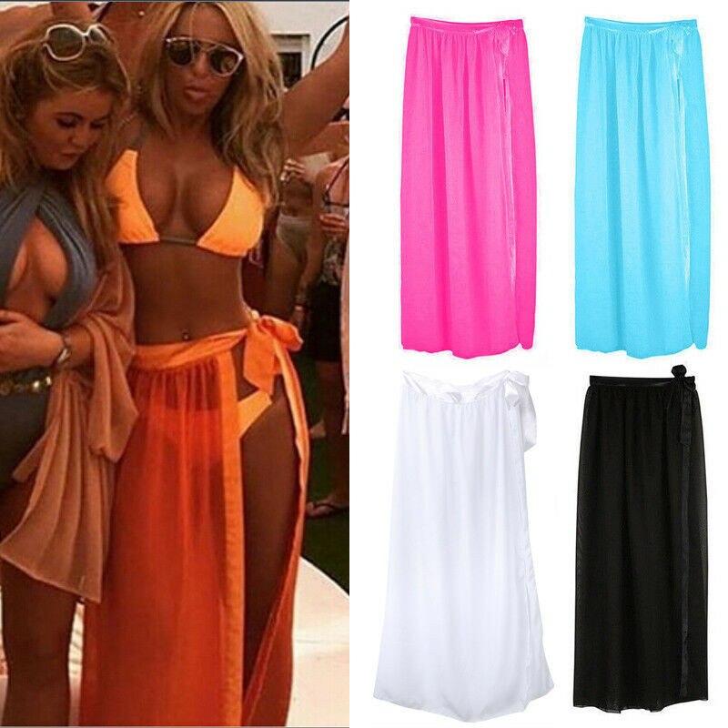 Women New Summer Chiffon Swimwear Sheer Bikini Set Ladies Cover Up Beach Maxi Side Slit Wrap Skirt Sarong Skiets Fashion Female