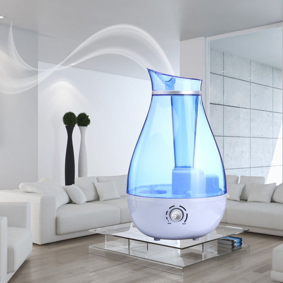 2.5L Large Capacity Ultrasonic Humidifier Electric Air Purifier With Auto Power Off Potection Mist Maker With Adjustable Mist Amount