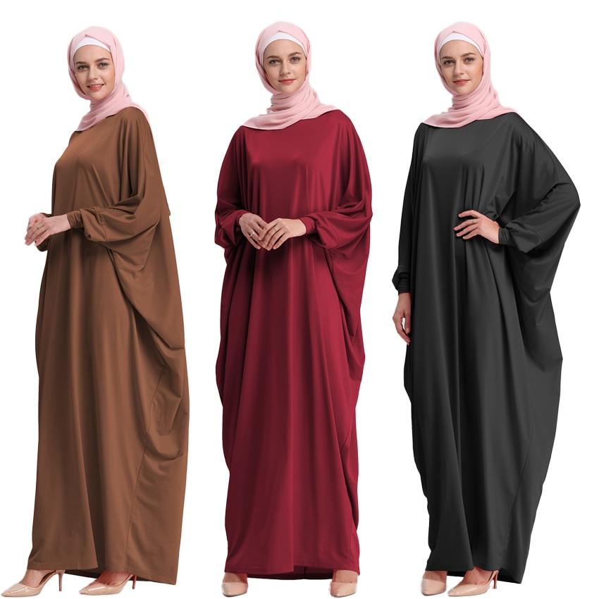 Female Irregular Design Bat Sleeve Muslim Baya Solid Elastic Middle East Arab Woman Loose Dress Turkish Ramadan Robe Gown