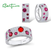 SANTUZZA srebrny komplet biżuterii damskiej 925 Sterling srebrna iskrząca czerwone kamienie stadniny kolczyki zestaw pierścieni efektowna biżuteria