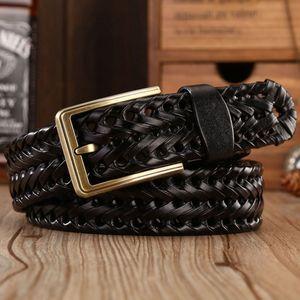 Image 4 - Men Genuine Leather Belt Pin Buckle Braided Belts For Men Quality Luxury Designer Handwoven Fashion Belts For Jeans