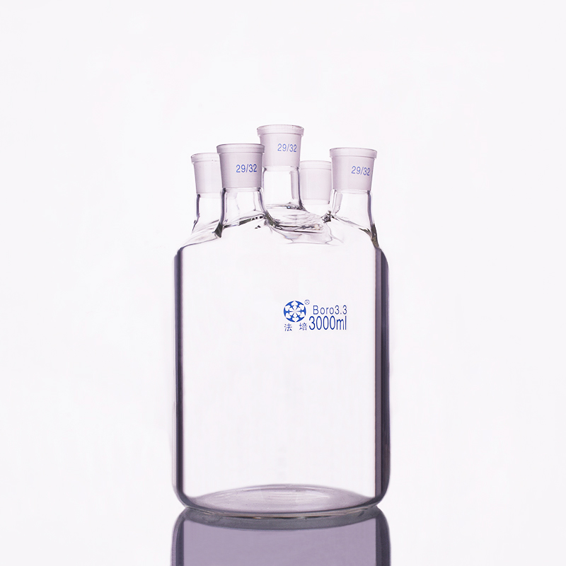 Single-layer cylindrical flat bottom five-necked flask 3000ml,Joint 29/32,Single-layer reactor bottle,Straight neckSingle-layer cylindrical flat bottom five-necked flask 3000ml,Joint 29/32,Single-layer reactor bottle,Straight neck