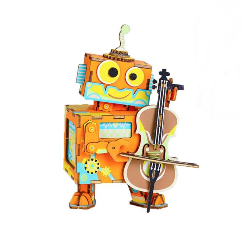 Robotime bricolage 3D Puzzle jouet boîte à musique en bois fait à la main modèle bois artisanat violon Robot bois Puzzles jouets pour enfants cadeaux