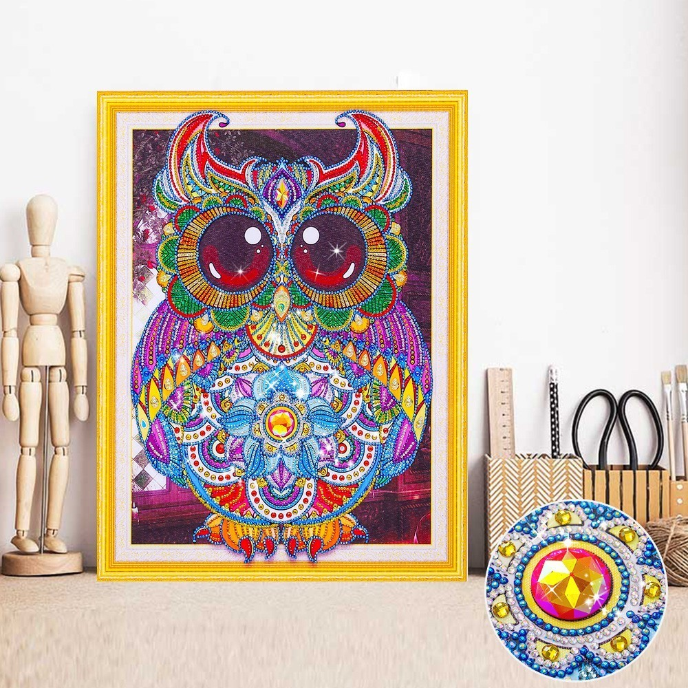 HUACAN Diamond Painting Owl 5D DIY Special Shape Diamond Embroidery Mosaic Picture Of Rhinestone Animal Decoration Home 40x50HUACAN Diamond Painting Owl 5D DIY Special Shape Diamond Embroidery Mosaic Picture Of Rhinestone Animal Decoration Home 40x50