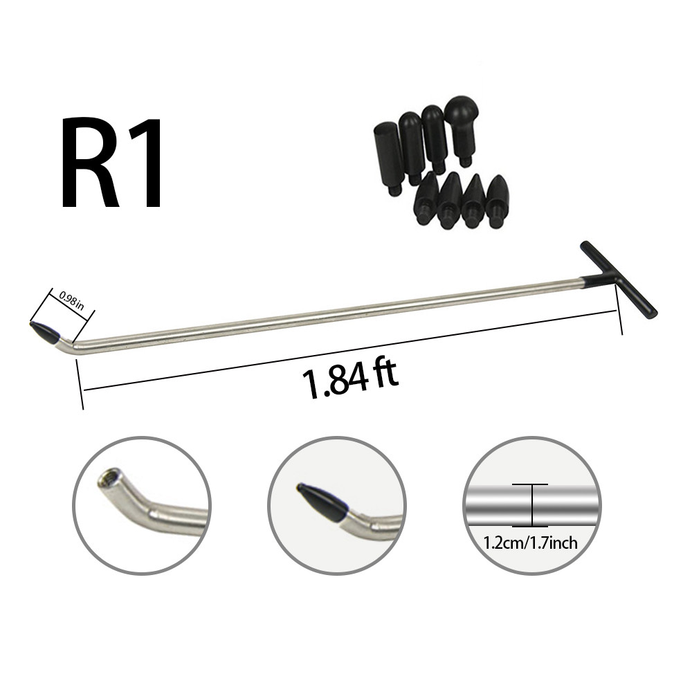 1pc Newly Design PDR Rods Tools PDR Hook Tools Push Rod With 8 Pcs Tap Down Heads (R1)