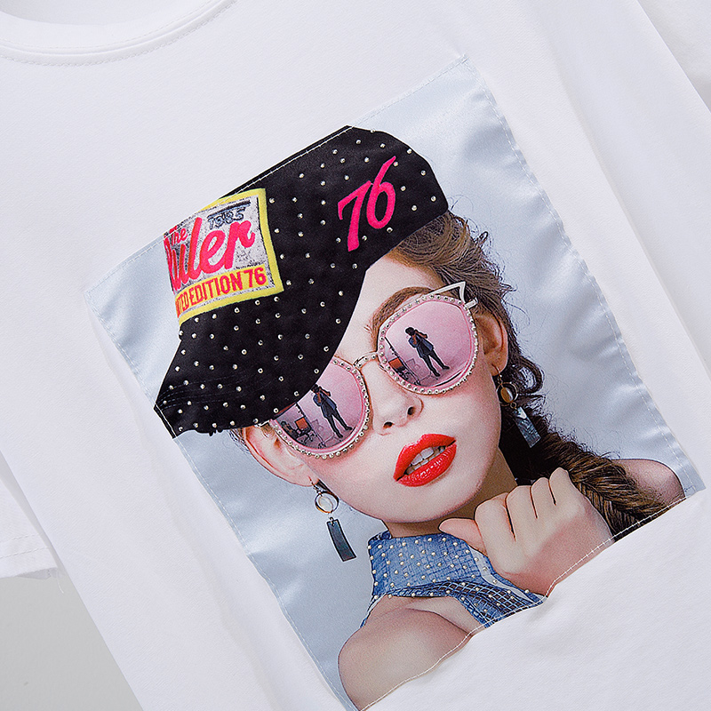 Banulin White Female T-shirt 2019 T Shirts Summer Novelty Tee T Shirt Short Sleeve Print Women Cotton O-Neck Tops Tees