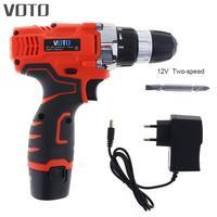 Электрическая отвертка VOTO 12 V с переключателем регулировки вращения и двухскоростной кнопкой регулировки для обработки винтов/пробивки