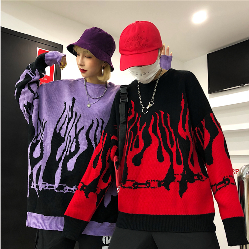 זוג סוודר Harajuku היפ הופ להבת אש סוודרים לסרוג 2019 סתיו חורף גבר נשים תלבושות Loose סוודר אופנה חולצות יוניסקס